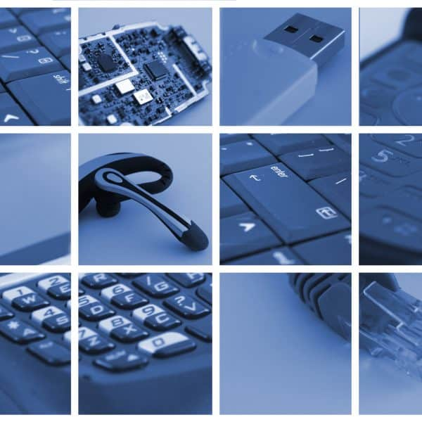 collage of technological and communication devices